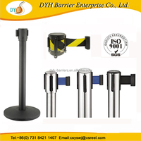 High-quality retractable belt system, retractable barrier pole, queue stand and stripe for a bank