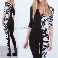 three-quarter graffiti printed sexy jumpsuits for women