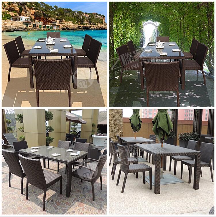 Telaio in alluminio 6 posti in rattan ristorante sedie set for Negozi mobili da giardino