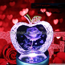 3D Laser carving Crystal Apple for wedding gifts and home decorations