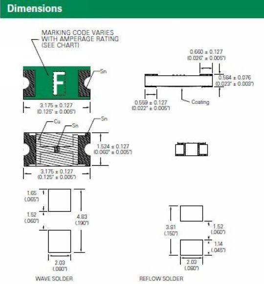1 X Fusible Fusible 154000.0 25:; ultra rápido; cerámica; 250mA; 63V; SMD; caso 1206