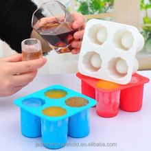 FDA/LFGB food grade DIY Hot sale 4 cup Silicone Ice Glass Shot Ice Cup makers