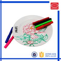 "6""Plate+6pcs ceramic markers in color box permanent ceramic marker pens"