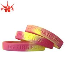 promotion elastic silicon bracelet red / yellow debossed logo