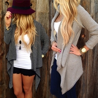 SFW15867 New 2015 Women Loose Casual Cardigan Fashion Ladies Long Sleeve Open Neck Irregular Knitted Sweater