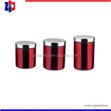 round colored stainless steel tea sugar coffee canister