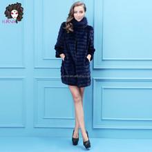 2015 Furnix women's blue velvet mink fur coat