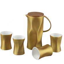 new products 2015 creative high quality gold-plating unbroken espresso coffee sets with kettle