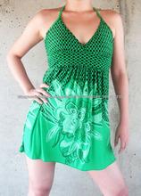 Atado al cuello hermoso de algodón impreso vestido mini para las mujeres y las niñas basados en Jaipur India, vestidos evening