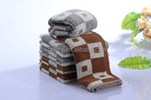 KLM-199 100% cotton fabric gray and brown color, soft grid face towel