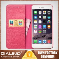 QIALINO Customized Logo Printed Hand Maded Leather Mobile Phone Cases For Iphone6