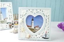 Nuevo mediterráneo- estilo azul- blanco plaza de marco de imagen accesorios para el hogar funia sexy imagen marco de fotos