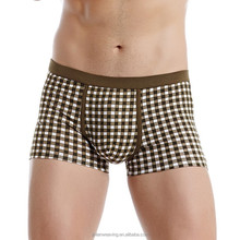 Apparel Boxer Man China Export Gay Men Underwear Grid Comforetable Sexy Boys Modeling Underwear