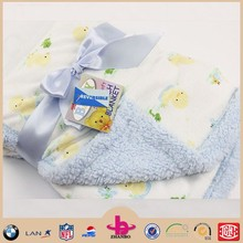 Small yellow duck printed bowknot shaped silk ribbon baby blanket with baby blue color shu velveteen suit for newborn baby