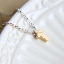 Mini Size 25mm Gold Plate Cross Pendant Necklace Stainless Steel Cross Pendant