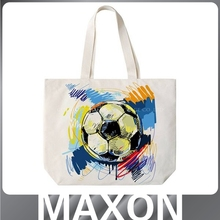 Football oem canvas tote shopping bag with shoulder handle
