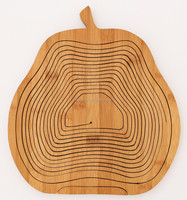 Eco-friendly Greens Pear Shape Bamboo Wooden Folding Collapsible Fruit and Heated Bread Basket
