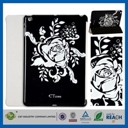 C&T Silver Foil flower printing Book style folio cover leather case for ipad air