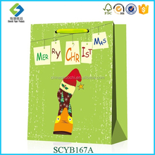 Wholesale Factory Customized Cute Animal Luxury Santa Hat Pattern Paper Shopping Bag