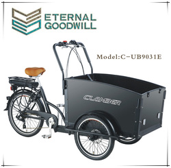 Electrical cargo bike with three wheels dis brake 6 speeds cargo bike/tricycle/bicycle GB 9031E