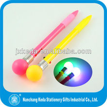 2014 Led light flashing bulb pens with 2 ball refill ink color 2 in 1 pen