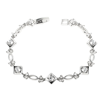 Unique design of the diamond & square-shared rhodium plated bracelets