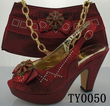 2015 latest design african matching shoes and bags / sexy high heel shoes and bags with rhinestones