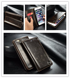 Business style flip genuine leather case for iphone 6 stand holder card slot leather case for iphone 6