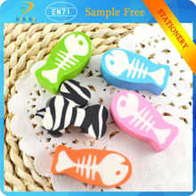 Novelty stationery 2d pretty fish shaped eraser school supply for children