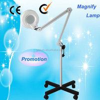 Au-662 Glass Lens Castor LED Light Magnifier 5 Diopter Magnifying Lamp