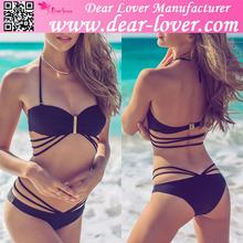 Latest design trendy bikini 2015 summer young girl black strappy swimsuit