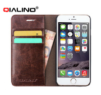 2015 QILINO Premium Genuine Leather Folio Flip Wallet Credit Card Cover Case For iPhone 6