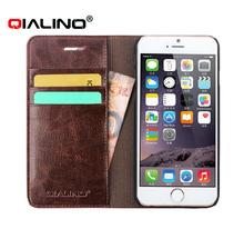 2015 QILINO Premium Genuine Leather Folio Flip Wallet Credit Card Cover Case For iPhone 6