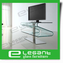 New Hot Sale Modern Stainless Steel and Clear Curved Glass Lcd TV Stand