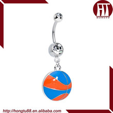 HT Fashion Clear CZ Gem Orange and Blue Dribble the Basketball Dangle Belly Navel Ring Body Piercing Jewelry