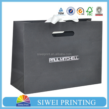 Cheap Custom Printed Luxury retail paper shopping bag with black colour
