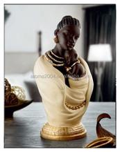 polyresin decorative figurine african woman sculpture