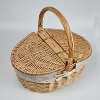 wicker picnic basket with wine holder