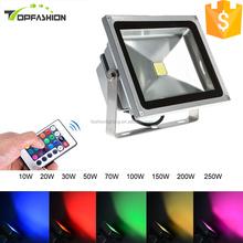 alibaba china outdoor 30w 100w 150w 200w led floodlight, epistar chip IP65 RGB color changing cob 50w led flood light