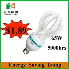 Customize CFL principle and Lotus 65W E27/B22 energy saving bulb