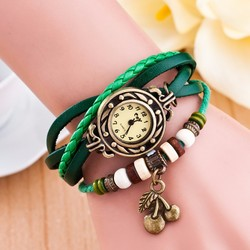 2015 Hot selling new fashion cheap vintage fruit cherry pendant watches10 colors wholesale watches