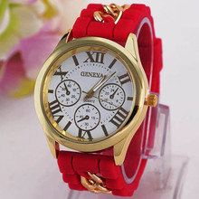 Trendy design 3 small dial face geneva branded watch