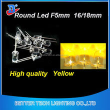 Led Round 5mm Led Yellow color,straw hat ,concave ,flat optional