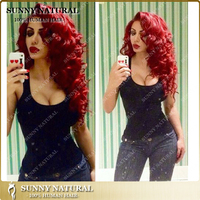 Fashion red human hair middle part lace front wig, malaysian virgin hair ombre red lace front wig with bangs