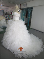 HMY-E0262 Beaded Sweetheart Puffy Organza Tiered Skirt Organza China Made Luxurious Wedding Dress Real Picture