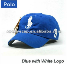 Blue Cap White Large Logo Polo Baseball Hat BP23 Golf Tennis Outdoor Casual New