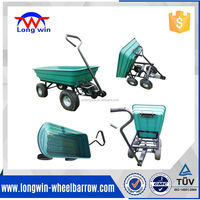 4 Wheel Garden Cart Truck Sack Trolley Tool Wheelbarrow Tipper Tipping Trailer