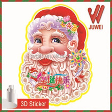 2016 hotsales 3D Christmas decorative paper glitter and 4C printing christmas figure gift indoor