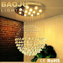 lustres de cristal pendant light led top k9 crystal round ball light
