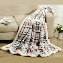 hot selling in europe and USA market heavy thick soft warm printed with check plaid design sherpa throw